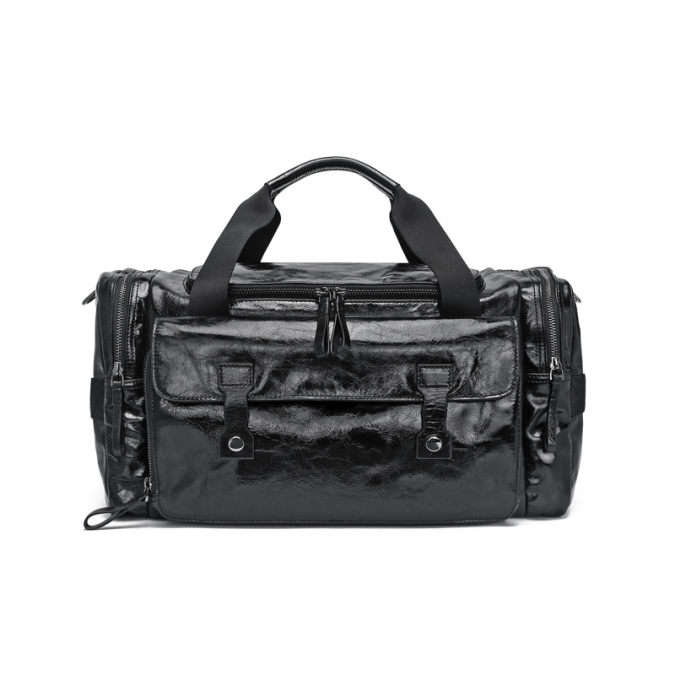 Black Men's Genuine Leather Duffel Bag