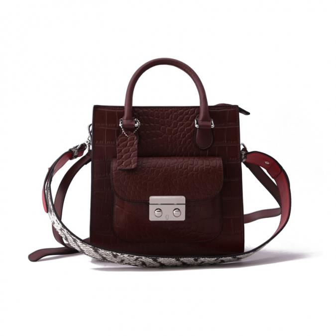 Wine Red Genuine Leather Shoulder Bags