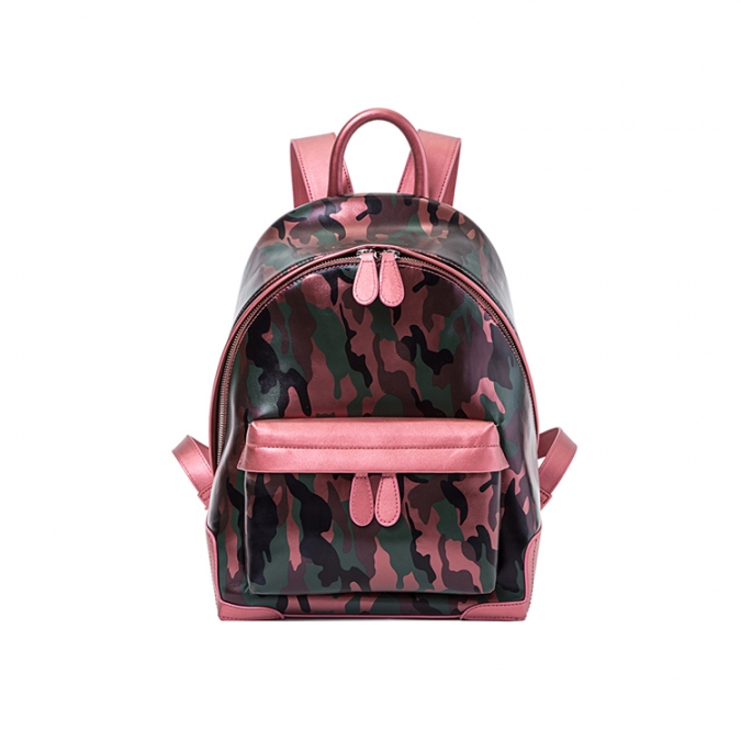 Camouflage Women's Leather School Backpack
