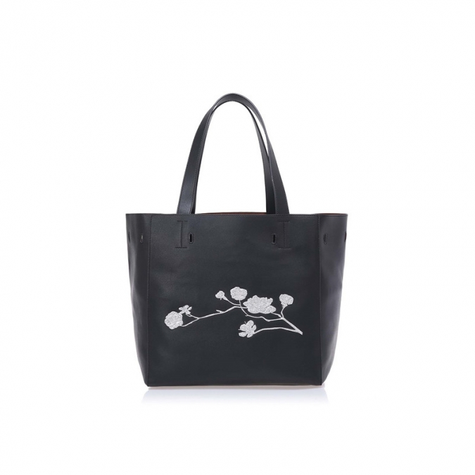 Soft Leather Embroidery Women Tote Bag