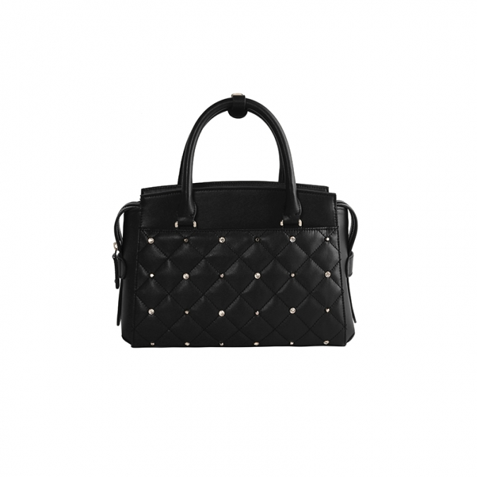 Tote handbag with rhinestone rivets