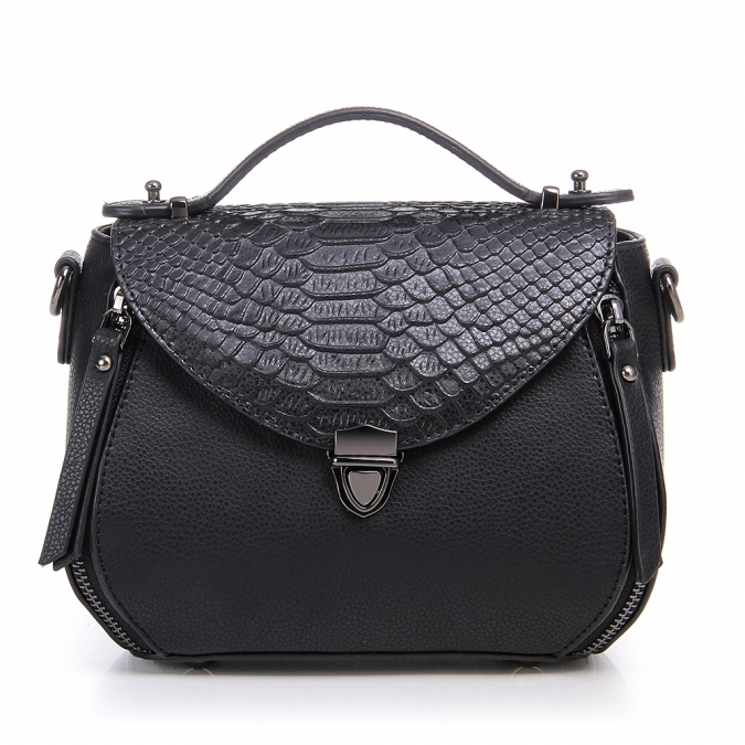snake embossed leather bag